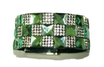 Diamante crystal bling cuff bracelet kit - 10mm faceted green square glass+2mm clear diamante stone -- c4009040kit